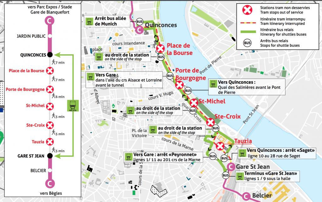 Travaux tram C Bordeaux