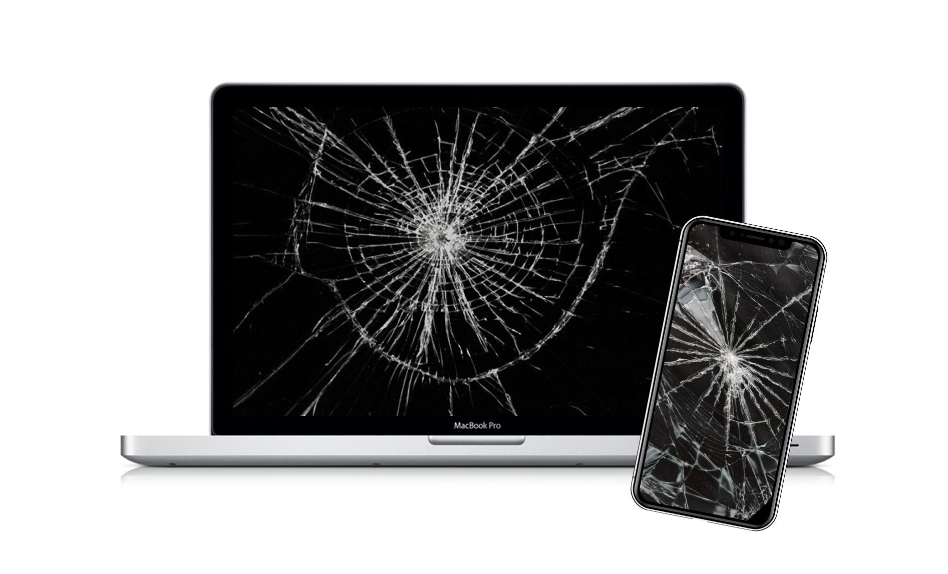 vitre cassée PC et smartphone